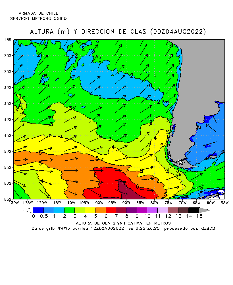 Map of the Western Coast of South America (Chile) with Waves forecast
